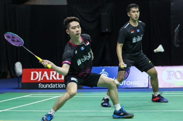 Pasangan ganda putra Kevin Sanjaya Sukamuljo/Moh Reza Pahlevi Isfahani saat tampil pada turnamen PBSI Home Tournament di Hall Pelatnas Cipayung, Jakarta Timur, Rabu (24/6/2020).