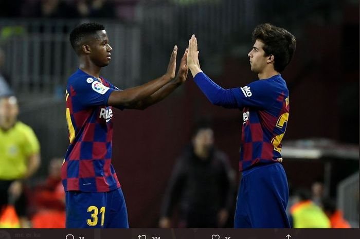 Dua bintang muda Barcelona, Ansu Fati (kiri) dan Riqui Puig (kanan).