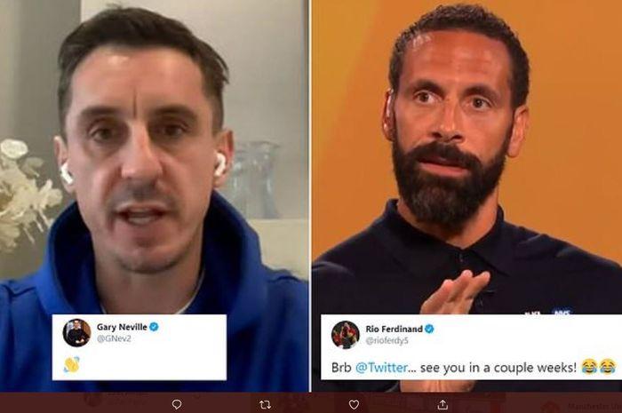 Duo legenda Manchester United, Rio Ferdinand dan Gary Neville, pamit dari Twitter.