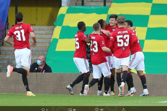 Gol telat Harry Maguire di babak tambahan pastikan Manchester United lolos ke babak semifinal Piala FA.