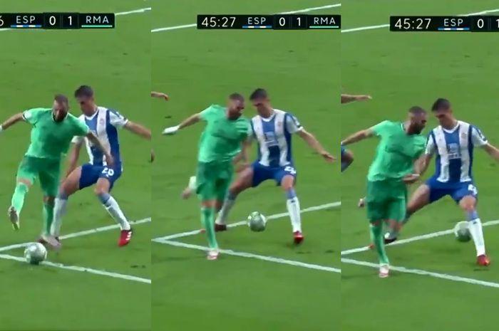 Detik-detik saat Karim Benzema mengelabui bek Espanyol, Bernardo Espinosa, dengan operan backheel untuk memberikan asisst pada Casemiro di laga Real Madrid melawan Espanyol pada Senin (29/6/2020).