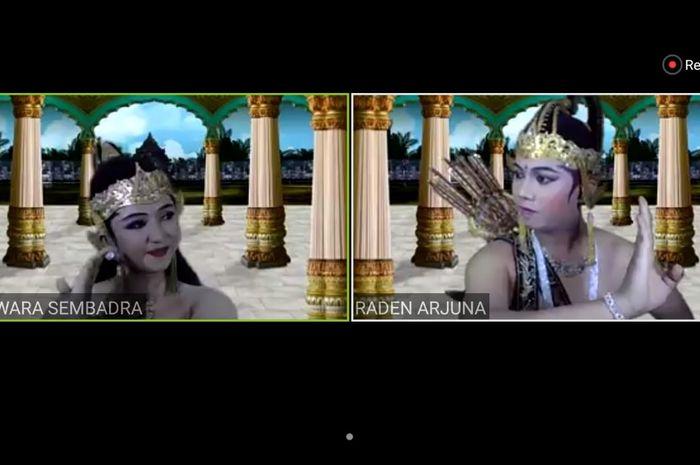Adegan pemungkas yang menampilkan Dewi Wara Sembadra dan raden Arjuna dalam  Siaran Langsung via ZOOM: Wayang Orang Daring Pertama di Indonesia.