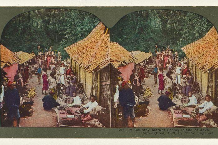 Pasar di Jawa, sekitar 1903. Foto karya T.W. Ingersoll.