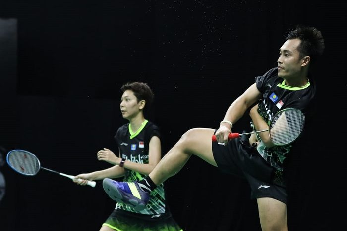 Pasangan ganda campuran Hafiz Faizal/Gloria Emanuelle Widjaja pada PBSI Home Tournament di pelatnas Cipayung, Jakarta, Rabu (1/7/2020).