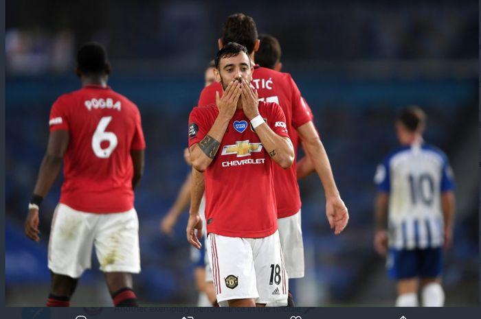 Bruno Fernandes mencetak dua gol saat Manchester United mengalahkan Brighton & Hove Albion 3-0 pada pekan ke-32 Liga Inggris, Selasa (30/6/2020).