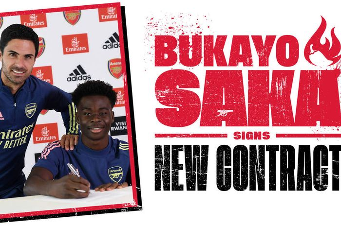Wonderkid Arsenal. Bukayo Saka, tanda tangani kontrak jangka panjang baru dengan Arsenal pada Rabu (1/7/2020).