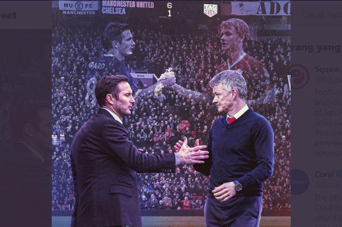 Ilustrasi pelatih Chelsea, Frank Lampard (kiri), menjabat Ole Gunnar Solskjaer selaku juru taktik Manchester United.