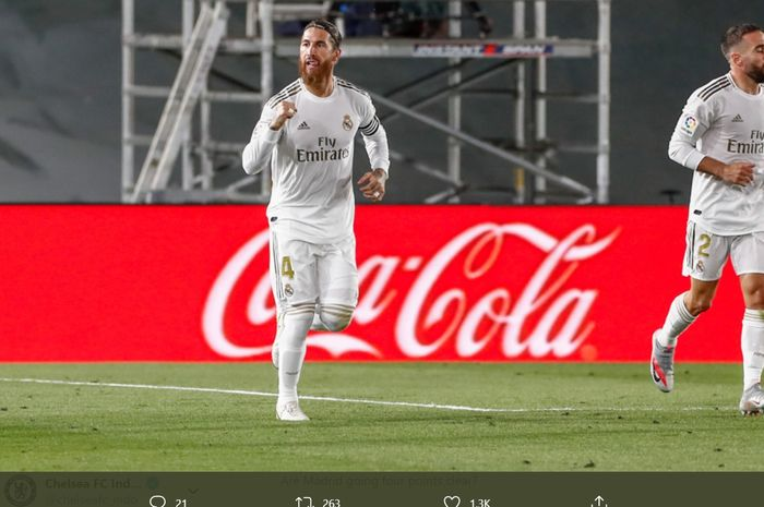Sergio Ramos melakukan selebrasi usai menjebol gawang Getafe pada laga pekan ke-33 Liga Spanyol, Kamis (2/7/2020).