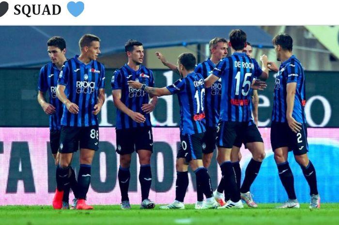 Para pemain Atalanta merayakan kemenangan atas Napoli pada laga pekan ke-29 Liga Italia, Kamis (2/7/2020) waktu setempat atau Jumat dini hari WIB.