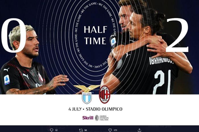 Hakan Calhanoglu dan Zlatan Ibrahimovic sukses membawa AC Milan unggul 2-0 atas LZaio pada babak pertama laga pekan ke-30 Liga Italia 2019-2020.