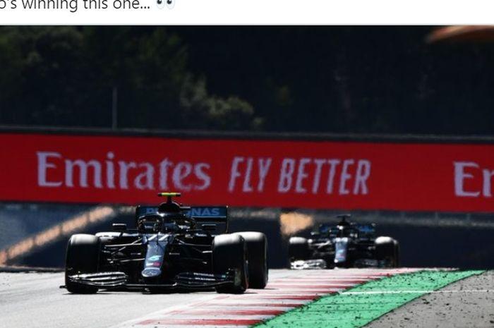 Pembalap Mercedes, Valtteri Bottas, memimpin jalannya balapan F1 GP Austria di Red Bull Ring, Austria, 5 Juli 2020.