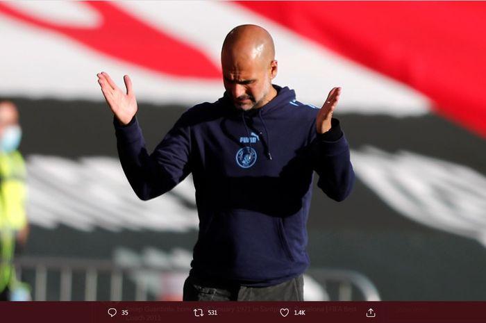 Reaksi pelatih Manchester City, Pep Guardiola.