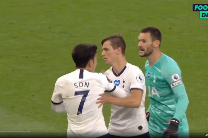 Perkelahian Son Heung-min Vs Hugo Lloris di laga Tottenham Hotspur Vs Everton, Senin (6/7/2020) atau Selasa dini hari WIB.