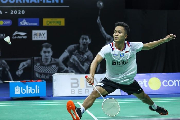 Anthony Sinisuka Ginting tampil pada PBSI Home Tournament di Pelatnas PBSI, Cipayung, Jakarta, Rabu (8/7/2020)