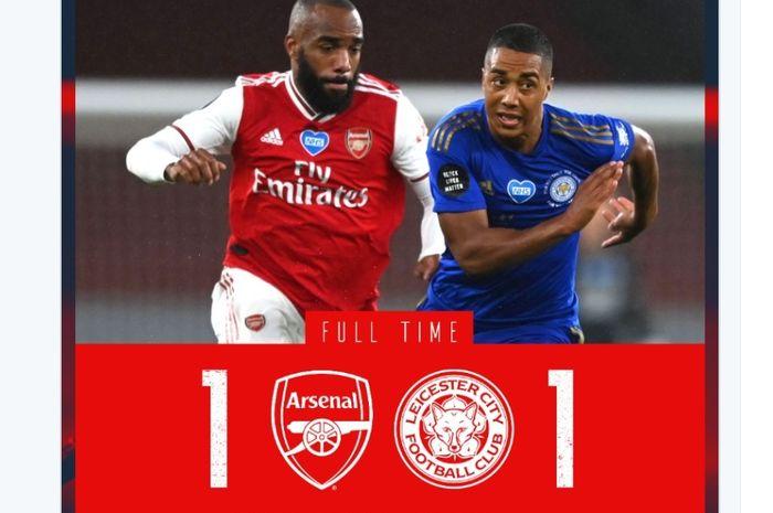 Arsenal hanya bermain imbang 1-1 melawan Leicester City pada pekan ke-34 Liga Inggris, Selasa (7/7/2020) di Emirates.