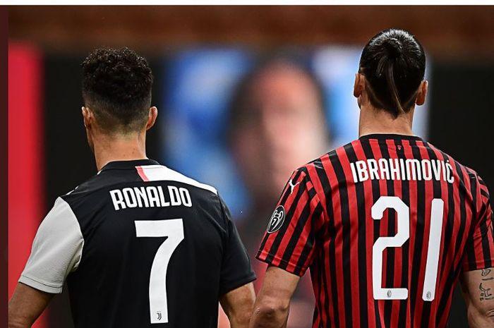 Cristiano Ronaldo dan Zlatan Ibrahimovic bersanding di laga AC Milan Vs Juventus di Stadion San Siro, dalam laga pekan ke-31 Liga Italia, Selasa (7/7/2020) atau Rabu dini hari WIB.