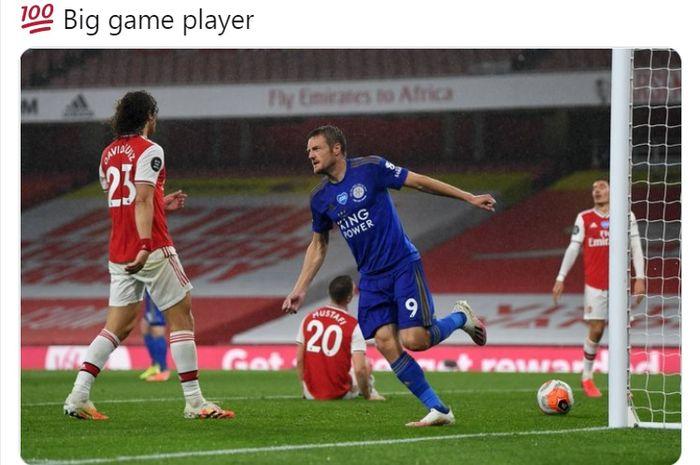Jamie Vardy berhasil mencetak gol yang membuat Leicester City bermain imbang melawan Arsenal pada laga pekan ke-34 Liga Inggris, Selasa (7/7/2020) waktu setempat.