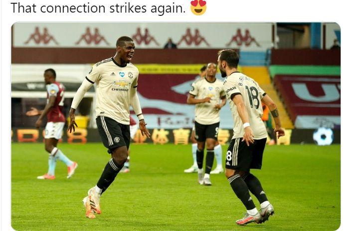 Paul Pogba (kiri) merayakan gol yang dicetaknya bersama sang pemberi assist, Bruno Fernandes.