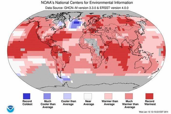 Rata-rata suhu permukaan laut.