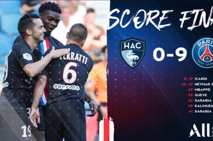 Paris Saint-Germain berhasil menang 9-0 atas Le Havre dalam laga persahabatan, Senin (13/7/2020) dini hari WIB.