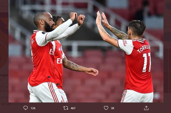 Para pemain Arsenal merayakan kemenangan atas Liverpool pada laga pekan ke-36 Liga Inggris, Rabu (15/7/2020) waktu setempat atau Kamis dini hari WIB.
