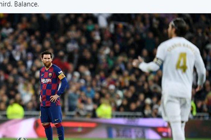 Kapten Barcelona, <a href='https://manado.tribunnews.com/tag/lionel-messi' title='LionelMessi'>LionelMessi</a>, menatap ke arah kapten <a href='https://manado.tribunnews.com/tag/real-madrid' title='RealMadrid'>RealMadrid</a>, <a href='https://manado.tribunnews.com/tag/sergio-ramos' title='SergioRamos'>SergioRamos</a>.