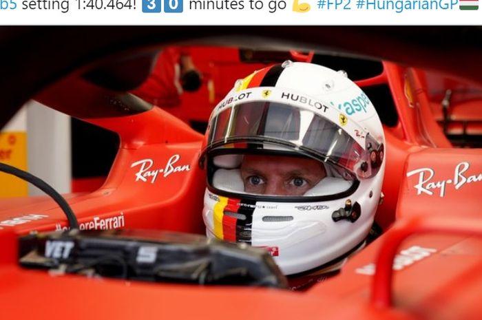 Pembalap Ferrari, Sebastian Vettel, menjadi pemilik waktu tercepat pada FP2 F1 GP Hungaria di Hungaroring, Hungaria, 17 Juli 2020.