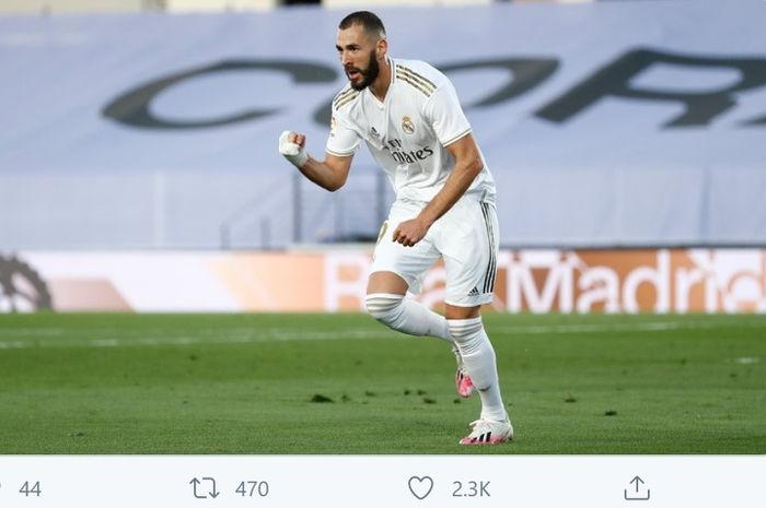 Karim Benzema membawa Real Madrid unggul 2-1 atas Villarreal pada pekan ke-37 Liga Spanyol, Kamis (16/7/2020) di Stadion Alfredo Di Stefano.