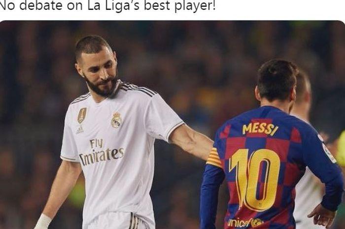 Striker Real Madrid, Karim Benzema, berpapasan dengan kapten Barcelona, Lionel Messi.