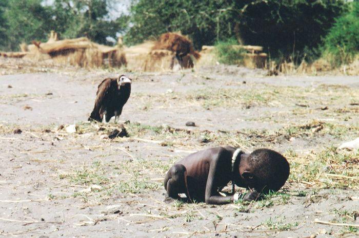 Gadis Sudan dan Burung Bangkai karya Kevin Carter yang dimuat di The New York Times
