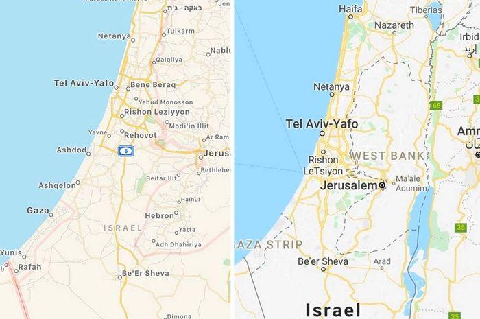 Bagaimana Israel dan Palestina muncul di Apple Maps (kiri) dan Google Maps. (Apple / Google)