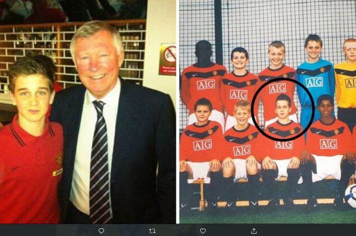Foto kiri: Sir Alex Ferguson bersama dengan Rhain Davis. Foto kanan: Rhain Davis bersama dengan rekan-rekan setimnya di tim muda Manchester United.