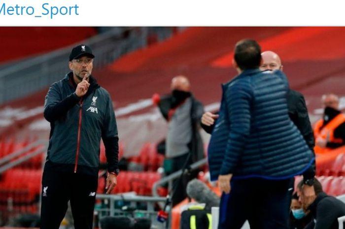 Pelatih Liverpool, Juergen Klopp, terlibat adu mulut dengan Frank Lampard saat menghadapi Chelsea di Liga Inggris.