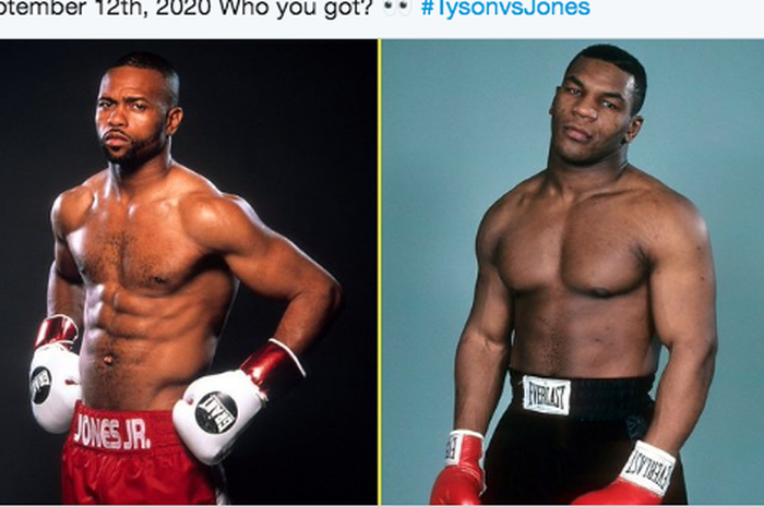 Roy Jones Jr. (kiri) dan Mike Tyson (kanan)