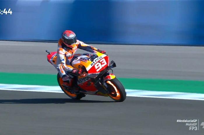 Pembalap Repsol Honda, Marc Marquez tampil di FP3 MotoGP Andalusia 2020.