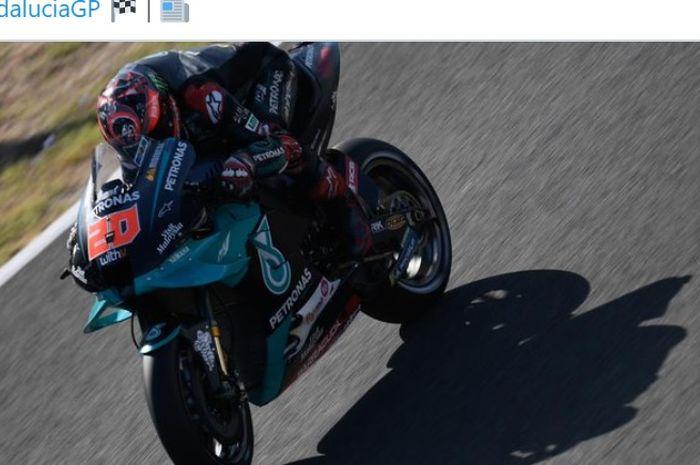 Pembalap Petronas Yamaha SRT, Fabio Quartararo, saat melakoni balapan MotoGP Andalusia di Sirkuit Jerez, Spanyol, 26 Juli 2020.