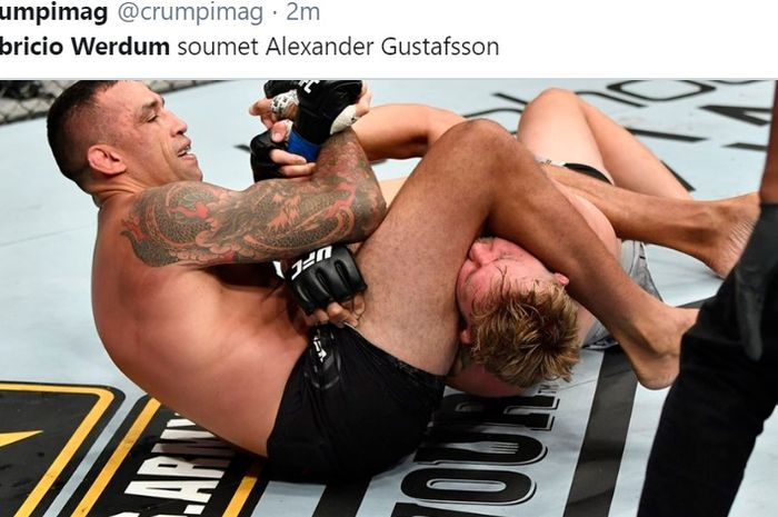 Fabricio Werdum mengalahkan Alexander Gustafsson di ronde pertama via armbar dalam UFC on ESPN 14, Minggu (26/7/2020) di Fight Island.
