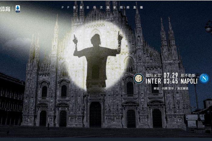 Promosi di saluran televisi PPTV untuk laga Inter Milan vs Napoli yang memperlihatkan siluet Lionel Messi.