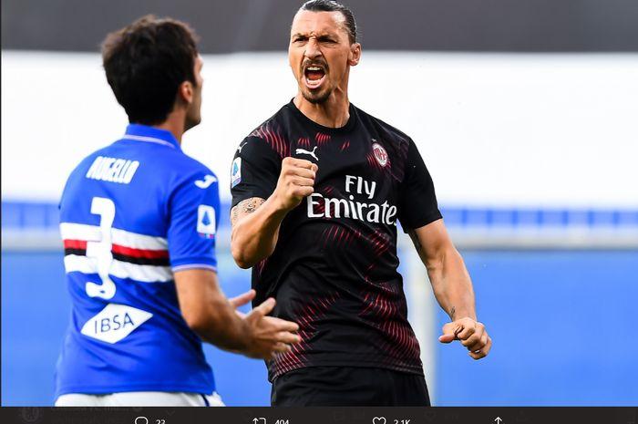 Ekspresi Zlatan Ibrahimovic usai mencetak gol ke gawang Sampdoria pada laga pekan ke-37 AC Milan di Liga Italia, Rabu (29/7/2020).