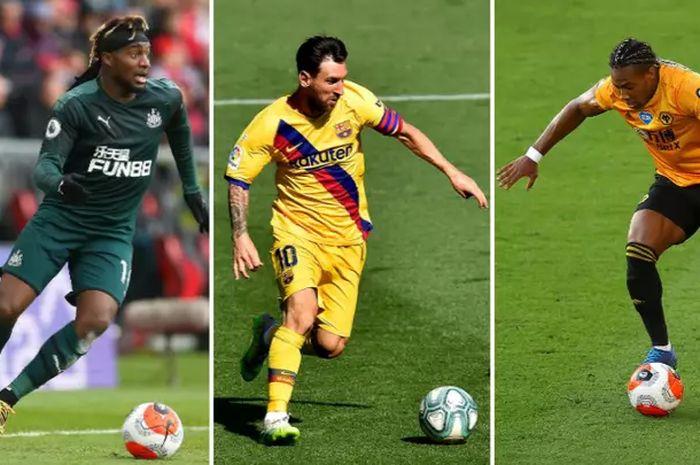 (Dari kiri ke kanan) Pemain Newcastle,  Allan Saint-Maximin, pemain Barcelona, Lionel Messi dan pemain Wolves, Adama Traore, yang berhasiil masuk dalam lima besar pemain dengan dribble tersukses selama musim 2019/2020.