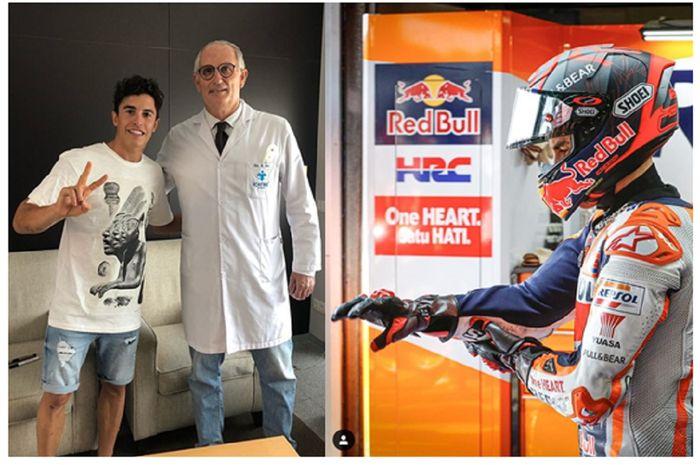 Marc Marquez puas usai cedera patah lengan kanannya ditangani tim dokter di Barcelona. Pebalap Repsol Honda itu sempat merasakan lengan kanannya sehari sebelum lomba MotoGP Andalusia 2020.
