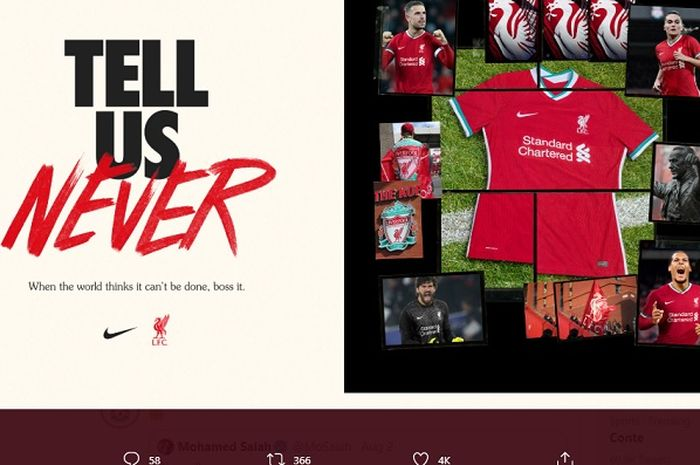 Jersey Liverpool musim 2020-2021 Nike.
