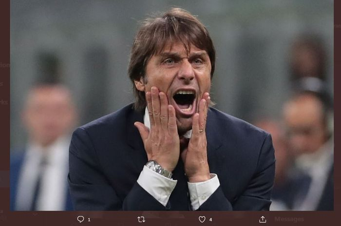 Reaksi pelatih Inter Milan, Antonio Conte.