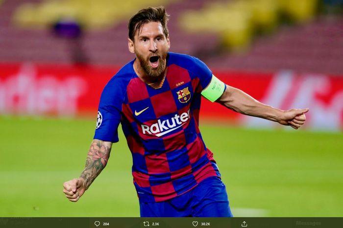Lionel Messi merayakan gol ke gawang Napoli dalam laga leg kedua babak 16 besar Liga Champions 2019-2020 di Stadion Camp Nou.