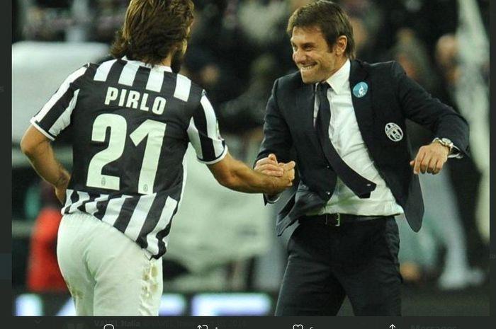 Antonio Conte dan Andrea Pirlo saat masih di Juventus.