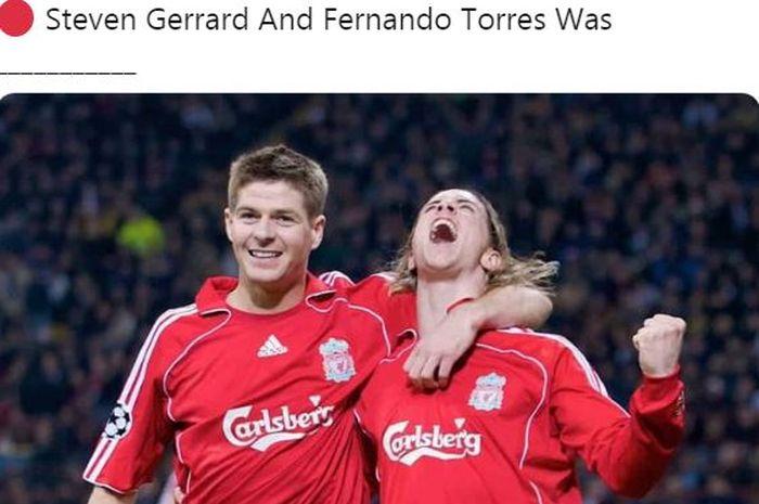 Steven Gerrard dan Fernando Torres melakukan selebrasi bersama saat memperkuat Liverpool.