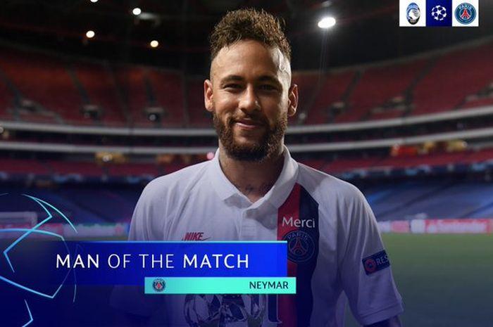 Penyerang Paris Saint-Germain, Neymar, mengalahkan megabintang Barcelona, Lionel Messi, menjadi pemain yang paling sering menipu lawan dalam sebuah laga Liga Champions 2019-2020.
