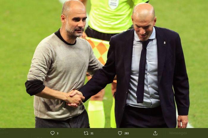 Pep Guardiola dan Zinedine Zidane bersalaman selepas laga Manchester City vs Real Madrid di Liga Champions.