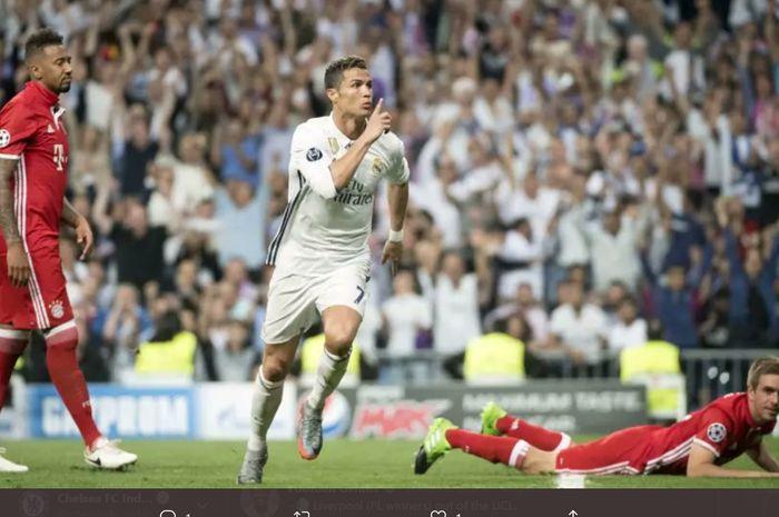 Selebrasi penyerang Real Madrid, Cristiano Ronaldo  usai menjebol gawang Bayern Muenchen pada laga perempat final Liga Champions 2016-2017