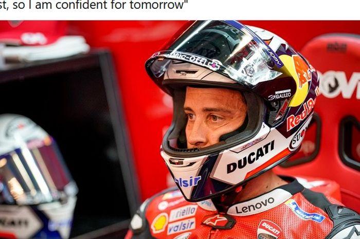 Pembalap Ducati, Andrea Dovizioso, di sela-sela hari pertama seri balap MotoGP Austria yang berlangsung di Red Bull Ring, 14 Agustus 2020.